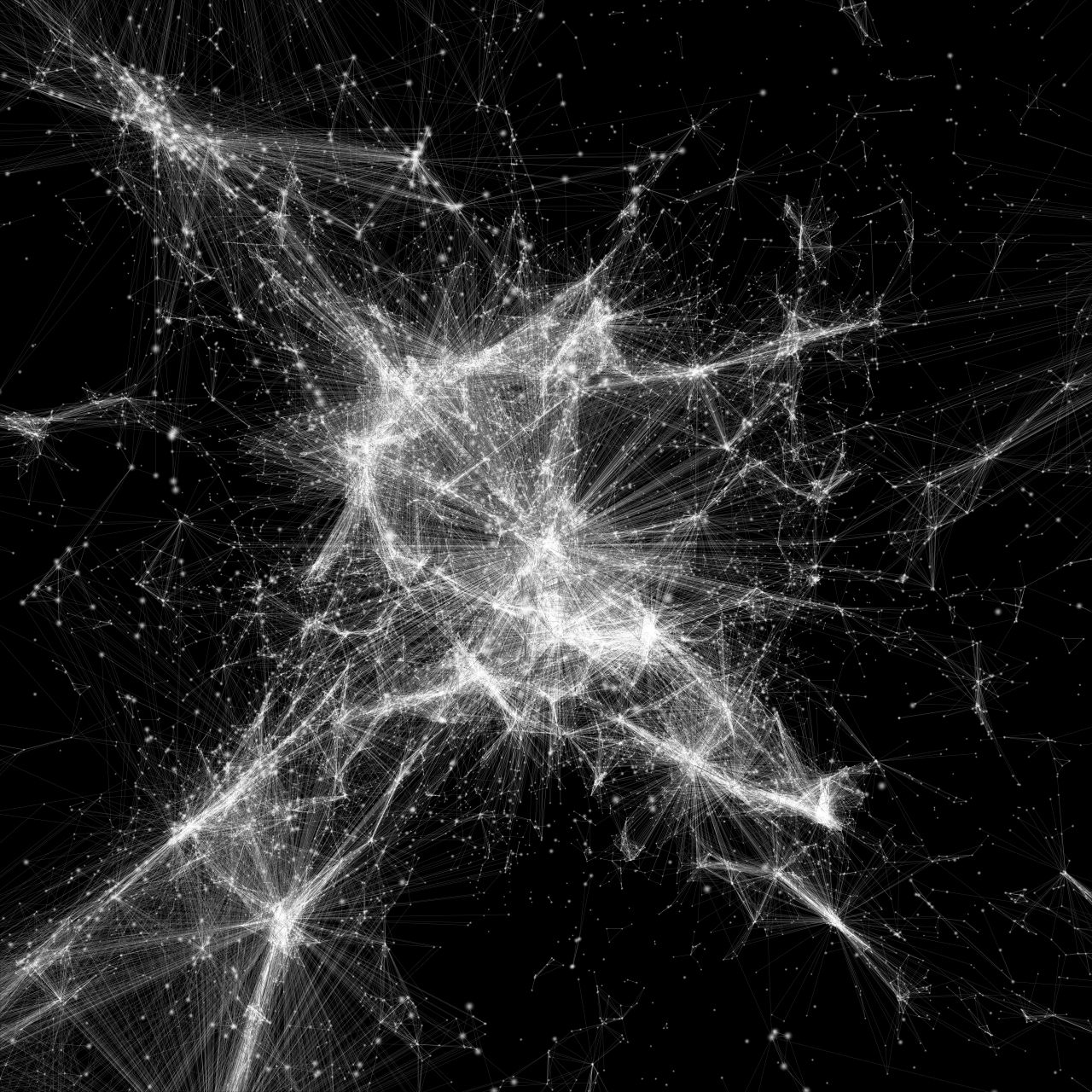 A visualization of a network is shown. It looks like a spider web.