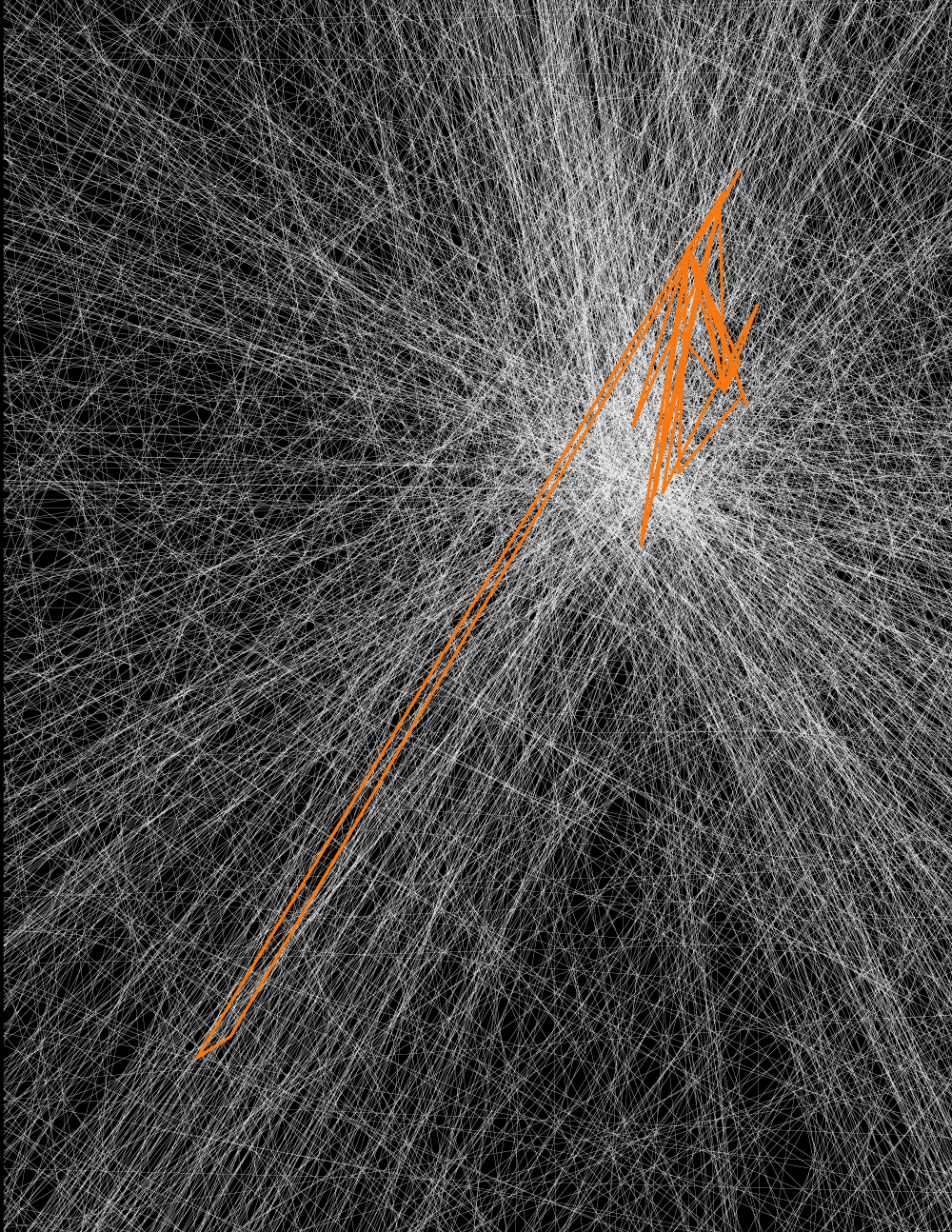Countless white lines on a black background run to a vanishing point. Overlaid on top are jagged orange lines.