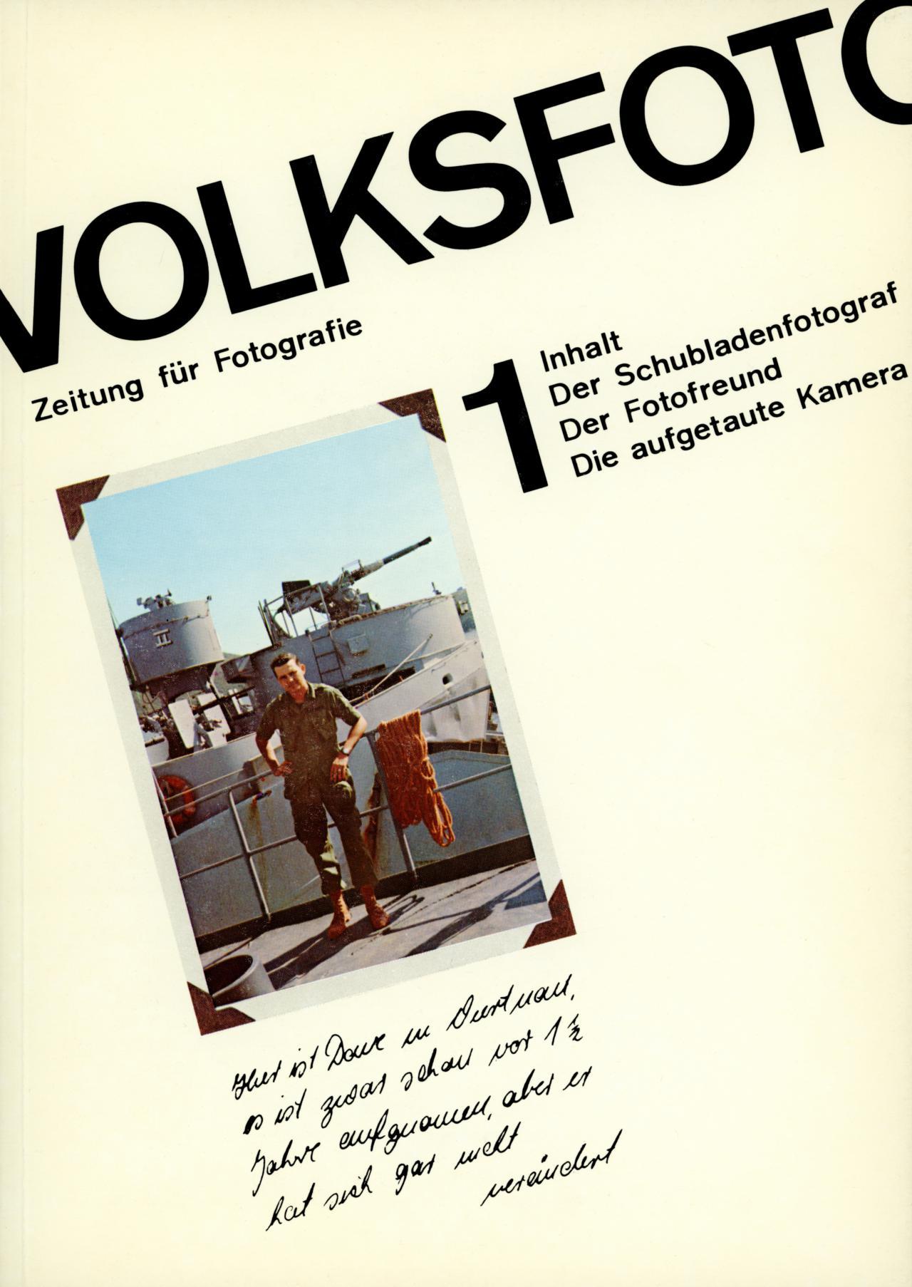 Dieter Hacker und Andreas  Seltzer (Hg.), Volksfoto. Zeitung für Fotografie, Nr. 1, 7. Produzentengalerie, Berlin, 1976.