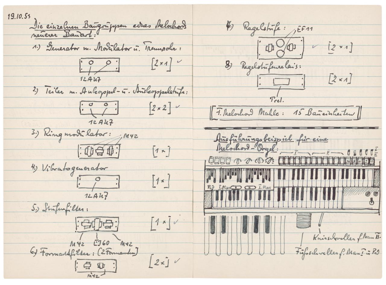 Auszüge aus den Notizheften von Harald Bode mit Skizzen und Zeichnungen.