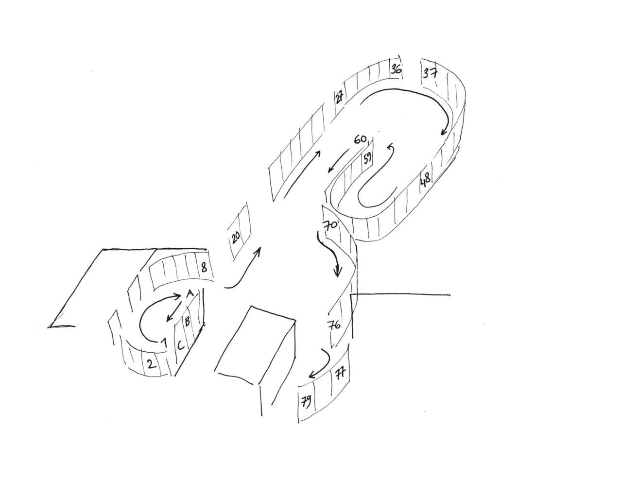 Zeichnung: Schema der Anordnung von Warburgs Tafeln in der Ausstellung am ZKM   Karlsruhe