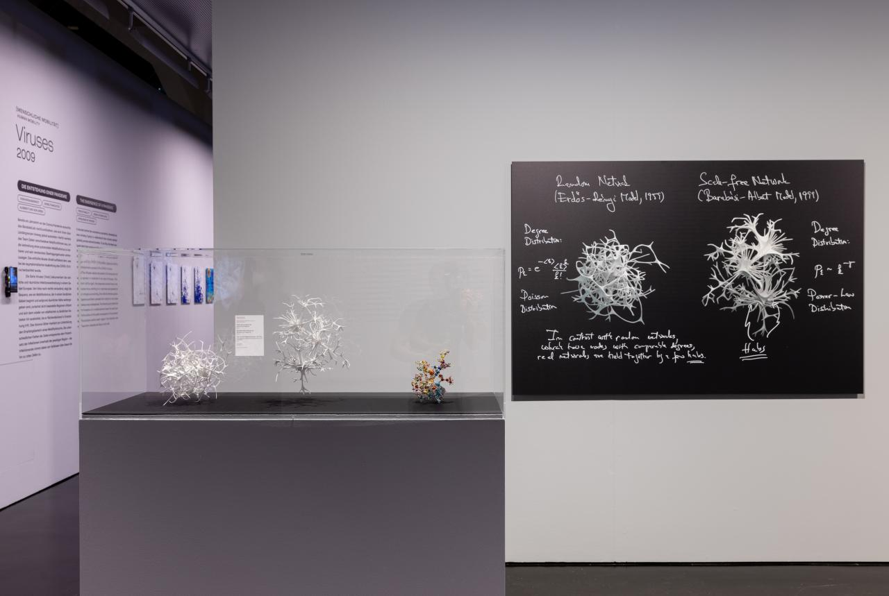 Exhibition view with »Network Canon« as a 3D model and image on the wall.
