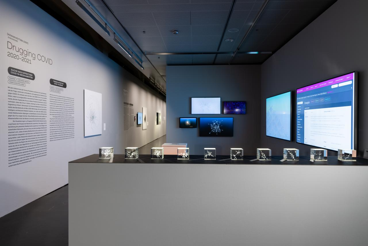 An exhibition space. In the foreground are 10 small glass boxes showing fine networks. In the background hang 4 screens that also show networks. On the right hang two large screens, on the left is an explanatory text on the wall.