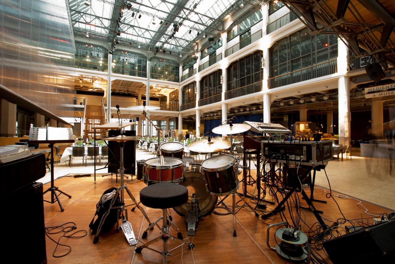 Stage construction with drums in ZKM_Foyer
