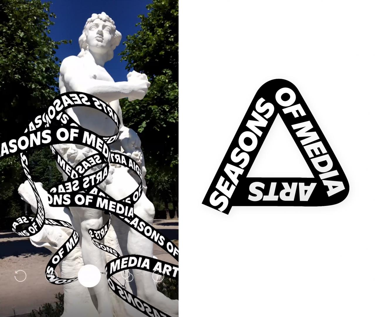 An antique statue of a man around which a virtual ribbon with lettering winds.