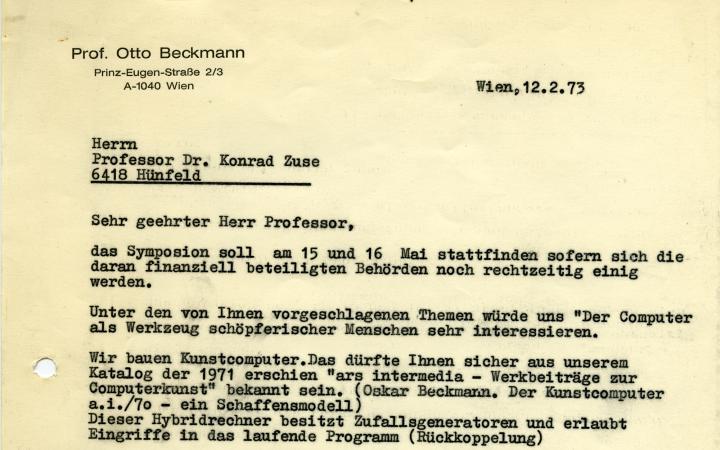 Otto Beckmann: Letter to Konrad Zuse