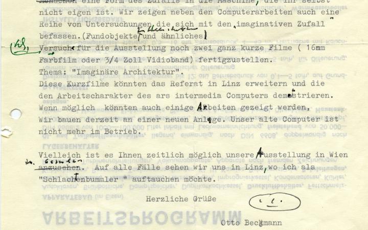 Otto Beckmann: Letter to Herbert W. Franke