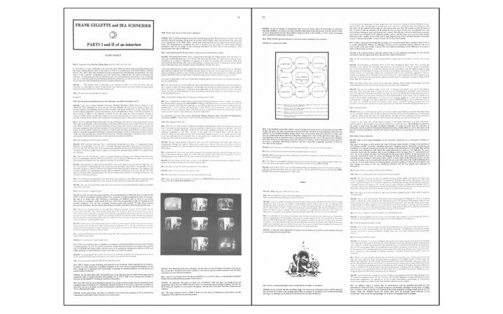PARTS I and II of an interview by Jud Yalkut with Frank Gillette and Ira Schneider, in: »Radical Software«, Vol. 1, Nr. 1, 1970