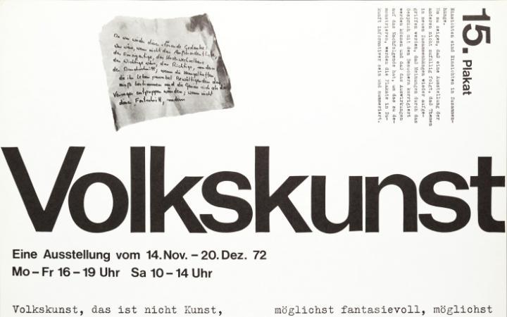 Plakat mit Text: »Volkskunst«