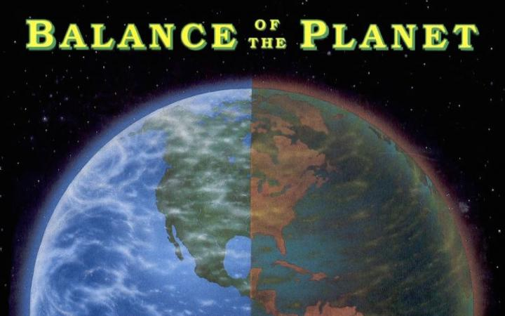 Cover of the video game »Balance of the Planet«. Earth globe in space.