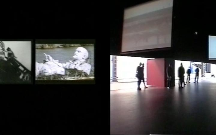 Two views of the installation »Black Maria« at the Hamburger Bahnhof