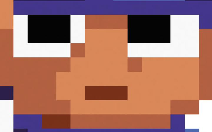 A pixelated male