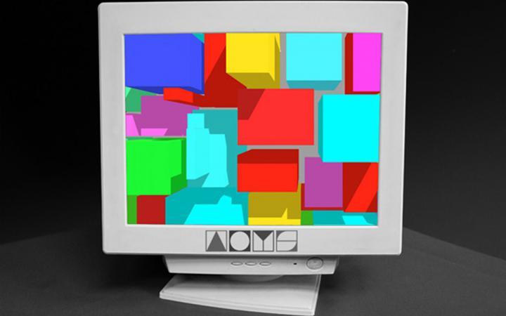 Alter Computerbildschirm mit bunten Quadraten. Am unteren Rand das Logo von 'ArtOnYourScreen'.
