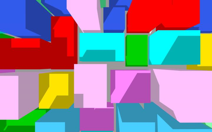 Verschiedenfarbige 3D-Kuben.