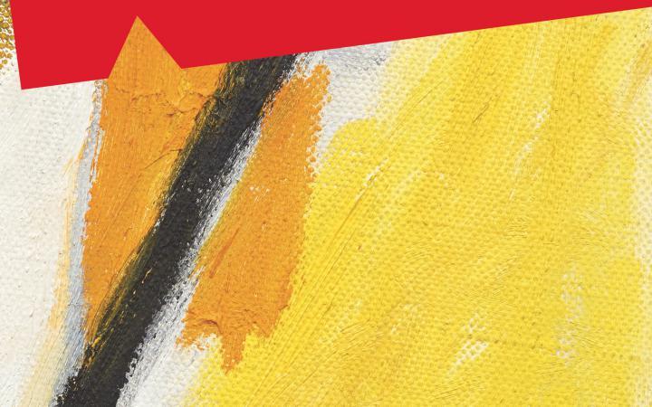Ein Gemälde, bestehend aus orangen, gelben und schwarzen Streifen