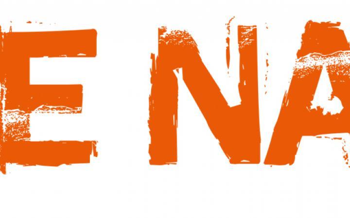 Orangener Schriftzug »NEUE NATUR«