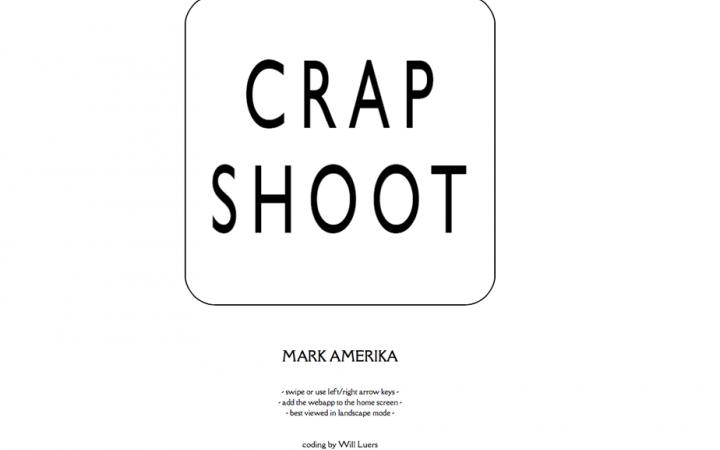 Screenshot der Startseite von Crapshoot, mit dem Schriftzug »Crapshoot«