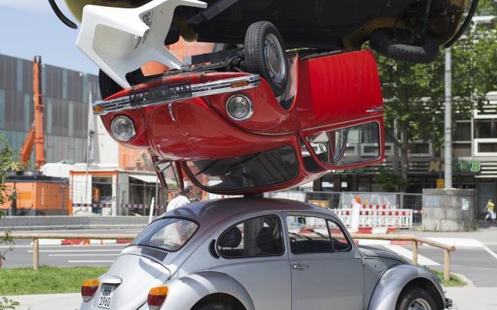 Stacked VW beetles