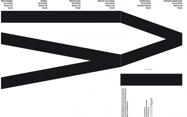 Poster of the lecture »6 zu 4: Judith Barry«