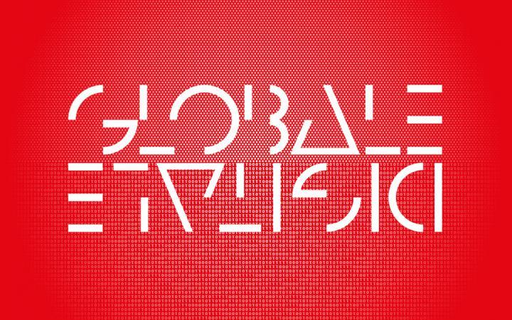 Weiße Schrift auf rotem Hintergrund: GLOBALE und auf dem Kopf DIGITALE