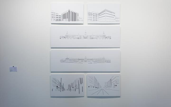 Sechs Zeichnungen von Gebäuden