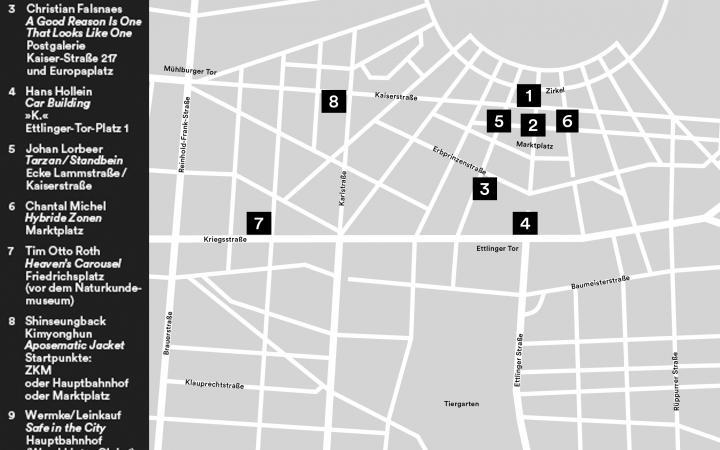 Stadtplan von Karlsruhe mit eingezeichneten Orten zu Die Stadt ist der Star