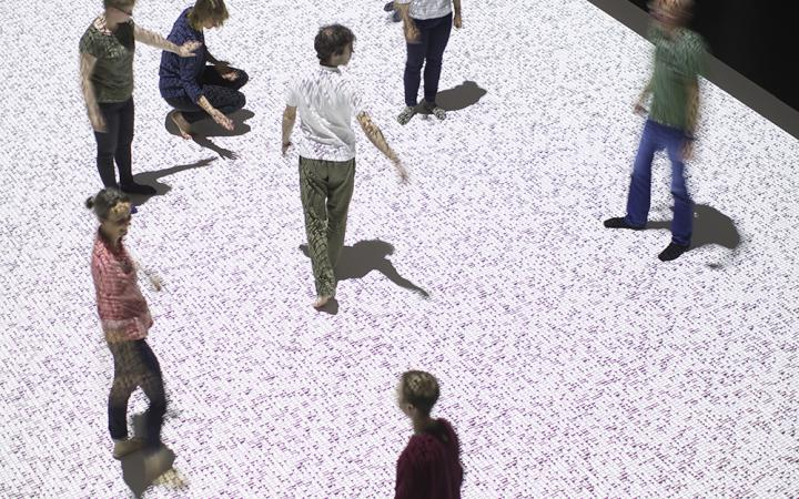 People dancing on a datamatrix