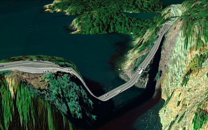 Computeranimation einer Straße die zwei große Felsgruppen miteinander verbindet