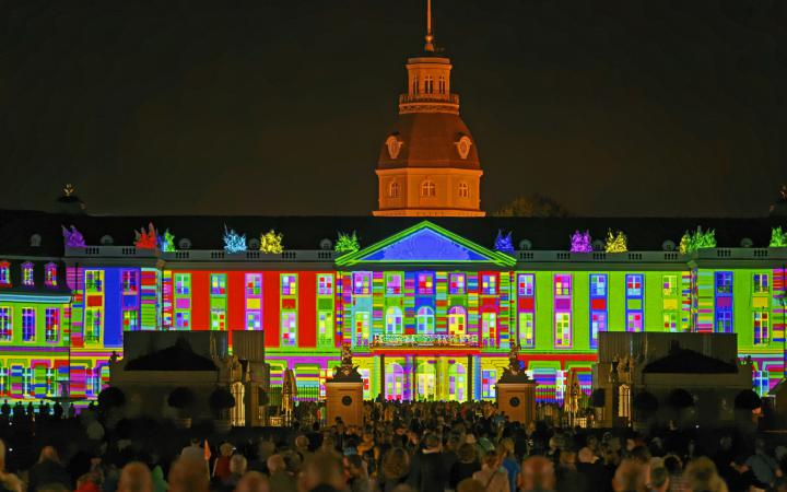 At the Karlsruhe palace colorful tiles are projected