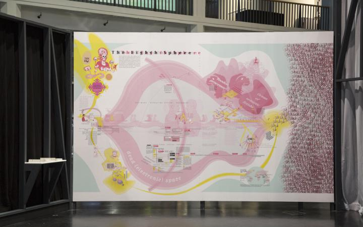 A map with yellow and pink elements like a skull, hills and dragon