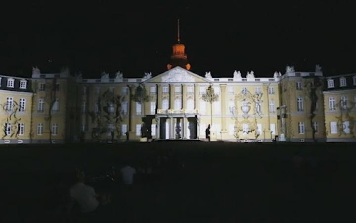 The palace facade with reflections