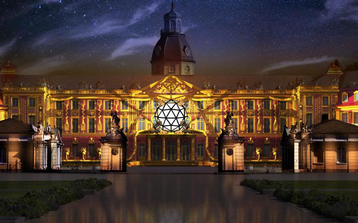 The palace façade is bathed in yellow and red light, in the middle of a white ball