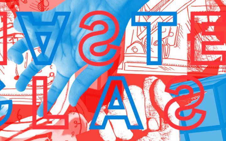 Ein Plakatmotiv, das in blau, rot und weiß gehalten ist und den Schriftzug [MASTERCLASS] trägt