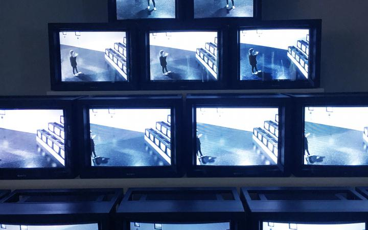 View of the exhibition »Radical Software«: View of the video installation »Track Trace« by Frank Gillette.