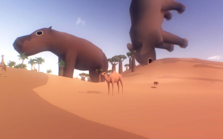 gigantic hippos and a camel in the desert