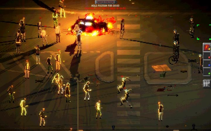 Screenshot: Graphic in Pixellook. Demonstrators stand in front of a burning car and are partially attacked by the security forces.