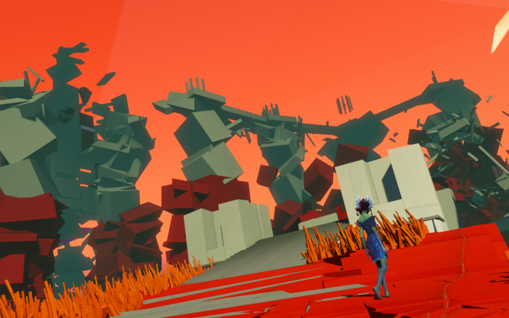 screesnhot: surreal dreamworld with abstract shapes and a reddish coloring with warm contrasts