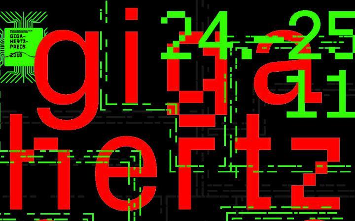 Cover der Publikation: Giga-Hertz-Preis 2018. Rote und grüne Schrift auf schwarzem Hintergrund