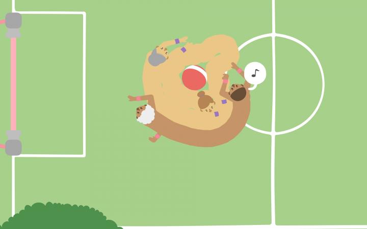Zwei Spielfiguren kämpfen um einen Ball auf einem Fußballfeld
