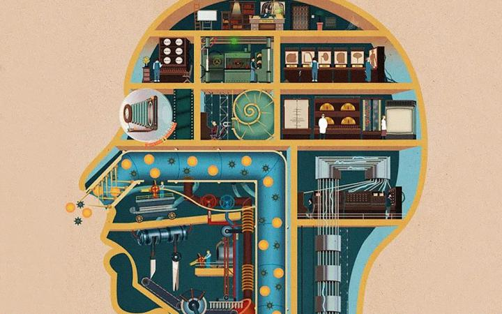 Illustration for the game Homo Machina. Processes and functions of the human body are represented like a factory.