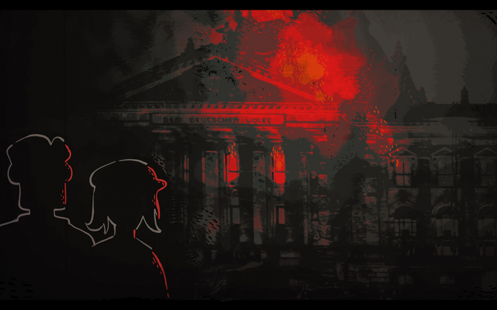 Concept Artwork. Reichstags fire with two spectators
