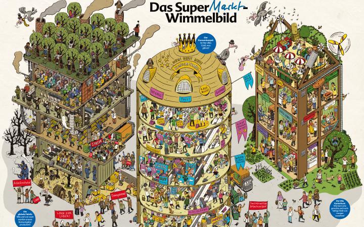 """Auf dem Wimmelbild sind drei Türme zu sehen. Der linke Turm zeigt die verschiedensten Auswirkungen des globalen Konsumverhaltens an den orten der Produktion. In der Mitte ist der glänzende """"Tempel des Konsums"""", der Supermarkt, zu sehen. Auf der rechten Se"""