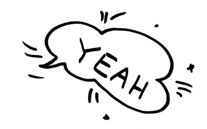 """The exclamation """"yeah! is written in a speech bubble."""