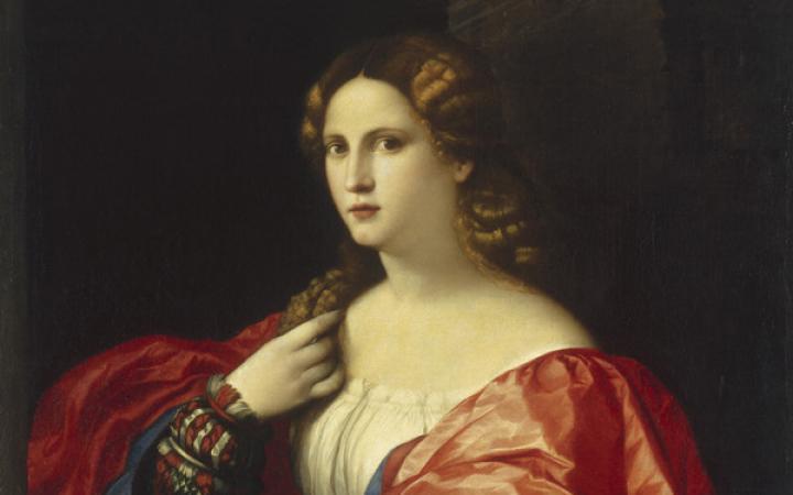 Renaissance-Gemälde einer Dame in Rot und Blau
