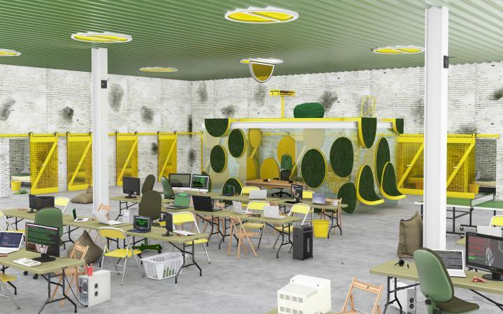 Digitale Darstellung eines möglichen Arbeitsraumes mit grüner Decke, gelben Stühlen und kreisrunden Plastikgrasflächen an den Wänden