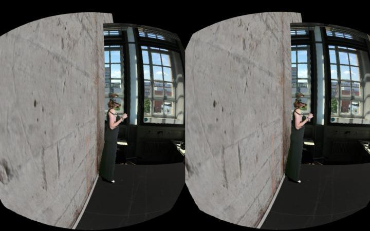 Zweigeteilte Darstellung einer Frau mit einer VR-Brille in einem Raum