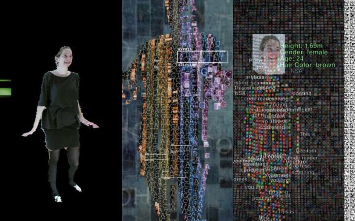 Digitale Darstellung einer Person auf einem grossen Bildschirm