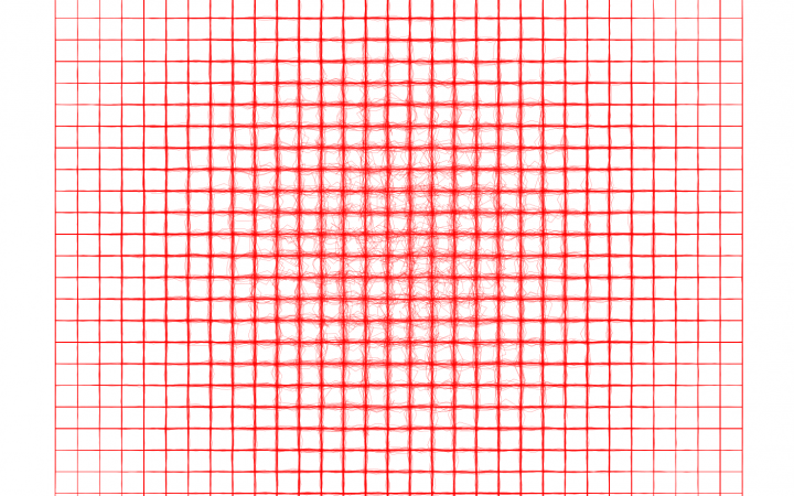 2D square of red grid lines