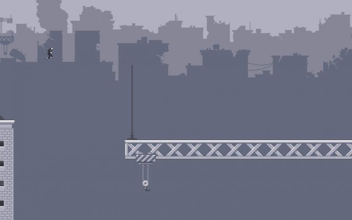Eine Figur springt von einem Hochhausdach auf einene Kran