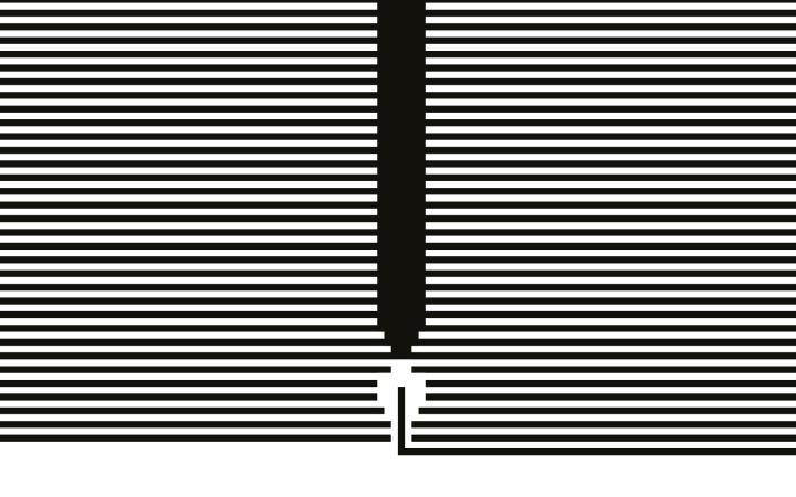 Auf dem Bild ist ein Buchcover zu sehen mit schwarz-weißen horizontalen Linien und einer Feder.